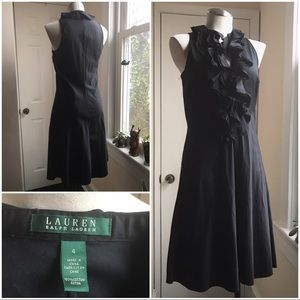 Lauren ruffle front deep v flared skirt dress